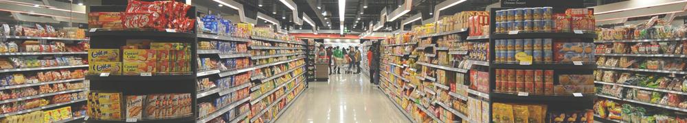 Торговые стеллажи для продуктового магазина